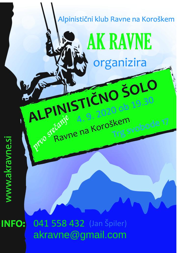 Plakat za alpinistično šolo 2020